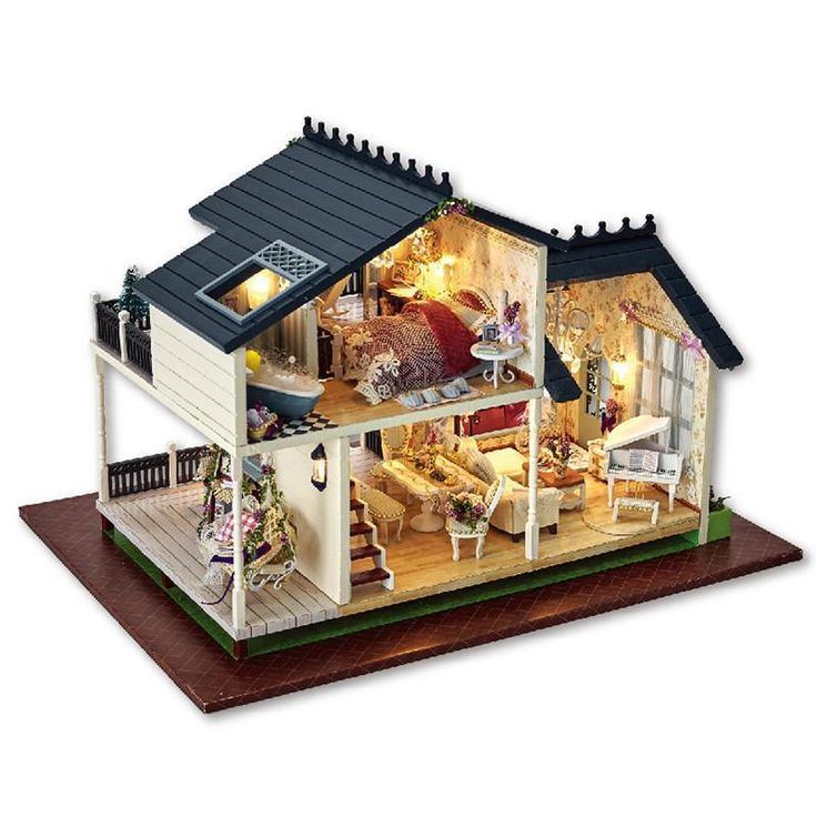 Wooden Doll House Furniture Kits Toys Handmade Craft Model Kit Doll House