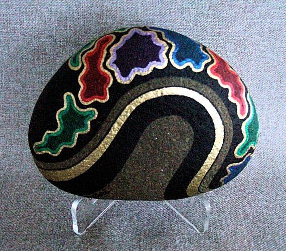 Firmado OOAK único objeto del arte 3D, arte decorativo, arte numerado, pintada roca, coleccionable, casa u oficina decoración, conversación, regalo