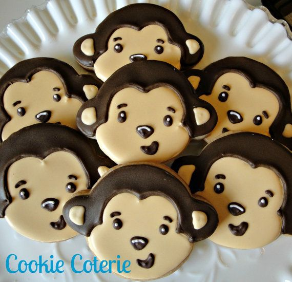 Monkey Themed Decorated Sugar Cookies Birthday Party Baby Shower Cookie Favors by CookieCoterie,