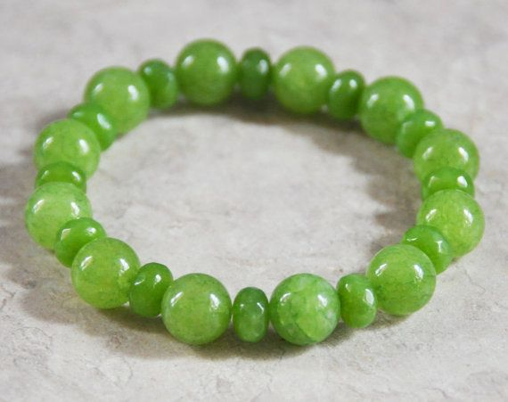 Jade, Peridot Stretch Bracelet, Genuine, Rainbow Bridge, Chakra Bracelet, August Stone, Lime Green, Protection, Lucky Bracelet, Abundance