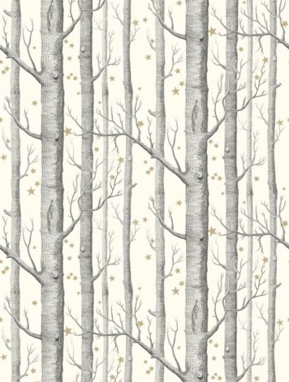 Woods and Stars  in black and white is taken from Cole and Son's Whimsical wallpaper collection.