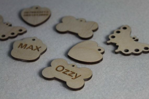 Wooden Personalized Engraved Bone Shape Pet Dog Cat Tag Id
