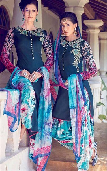 Artistic Navy Blue Cotton Salwar Kameez