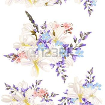 soft floral seamless patterns: Floral seamless vector pattern with flowers in watercolor style Illustration