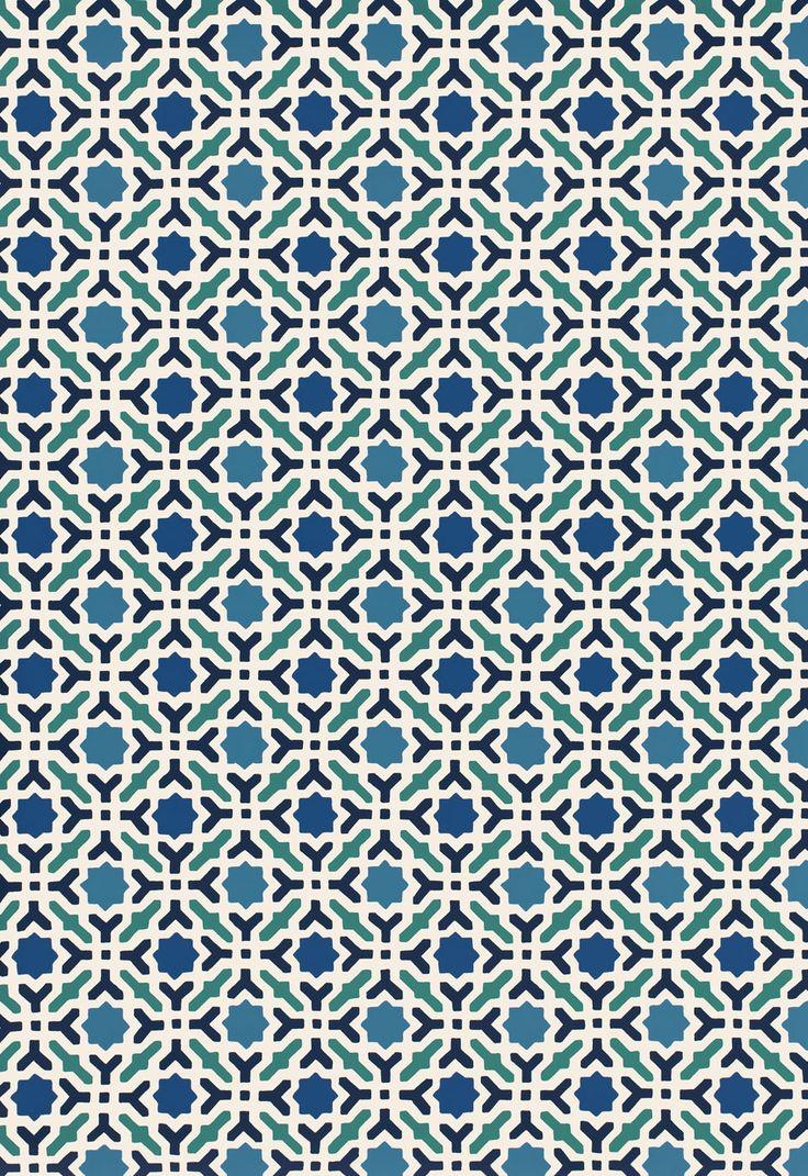 Serallo Mosaic in Aegean, 5005970. http://www.fschumacher.com/search/ProductDetail.aspx?sku=5005970 #Schumacher