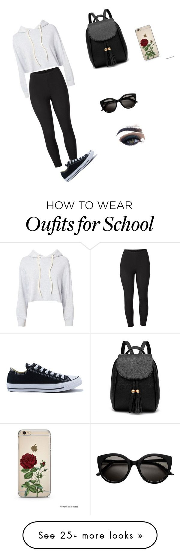 """""""Firts day of school"""" by nixiem87 on Polyvore featuring Monrow, Venus, Converse, Too Faced Cosmetics and plus size clothing"""
