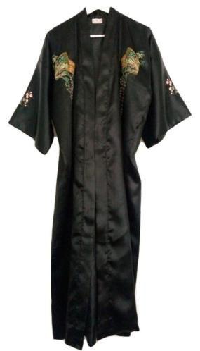 Lange geborduurde kimono met ceintuur - Zwart satijn, mt. M/L €15