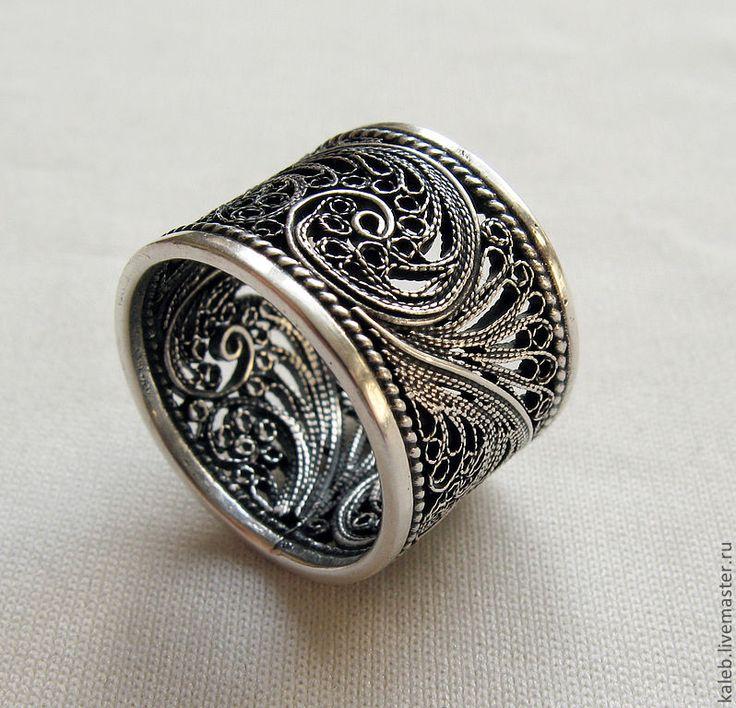 Купить Cеребряное кольцо - серебряный, филигрань, сложная ...