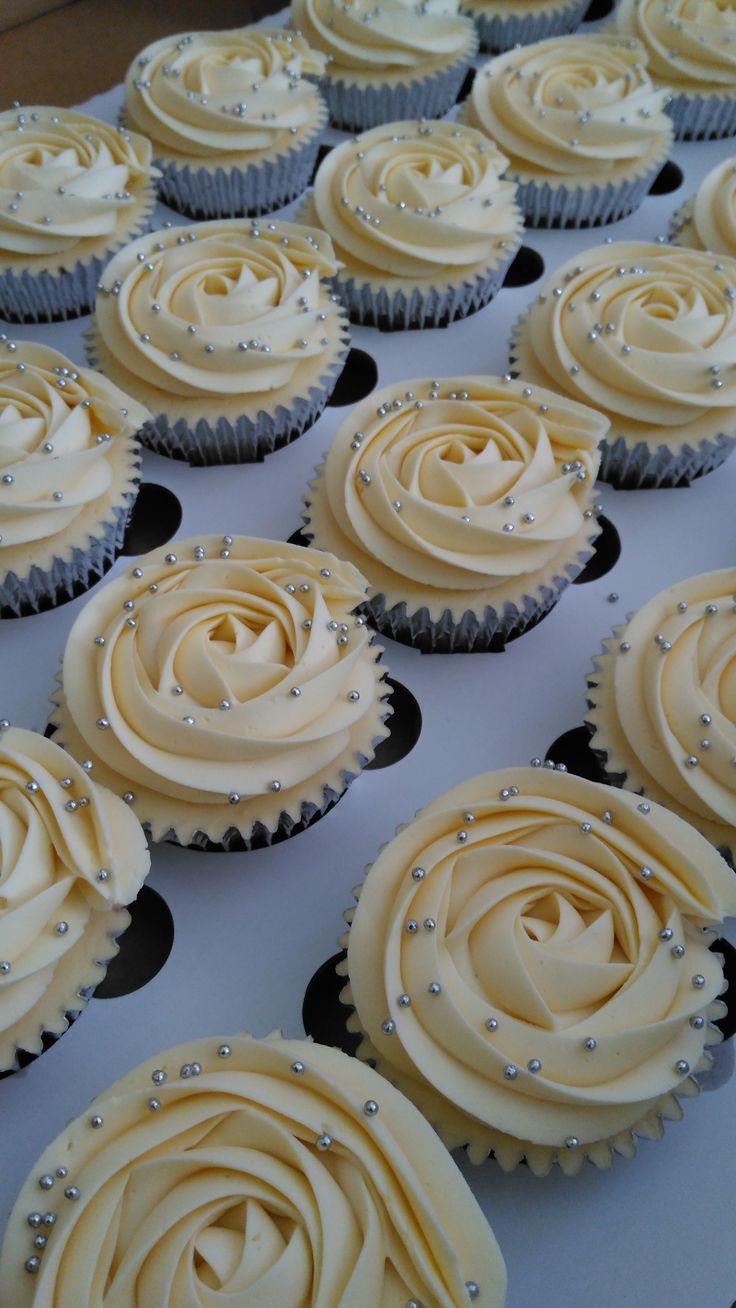 Teeny tiny silver balls, ivory rose swirl cupcakes