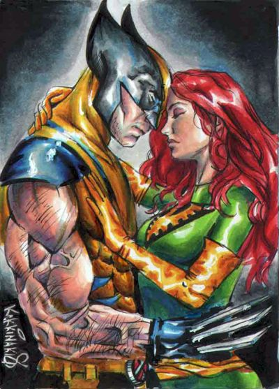 wolverine-Jean grey sketch card by Kokkinakis-Achilleas on deviantART