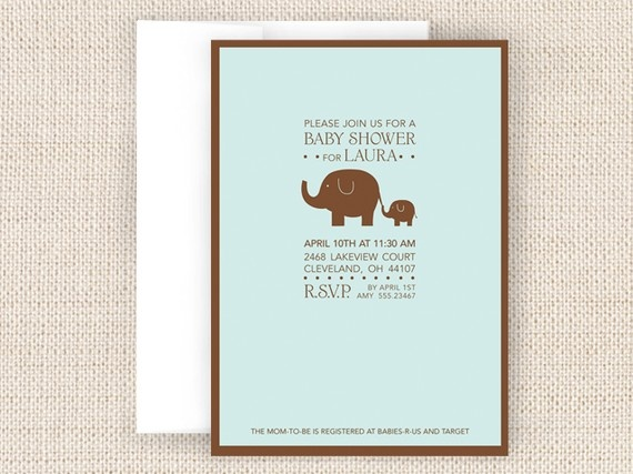 Elephant Baby Shower Invitation by twopoochpaperie on Etsy