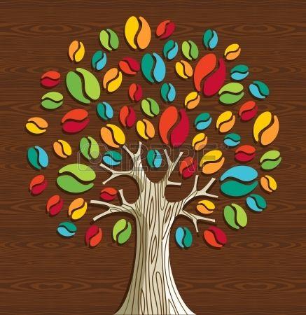 Colorful chicchi di caffè albero su legno senza soluzione di continuità. Vector file livelli di facile manipolazione e la colorazione personalizzata. Archivio Fotografico