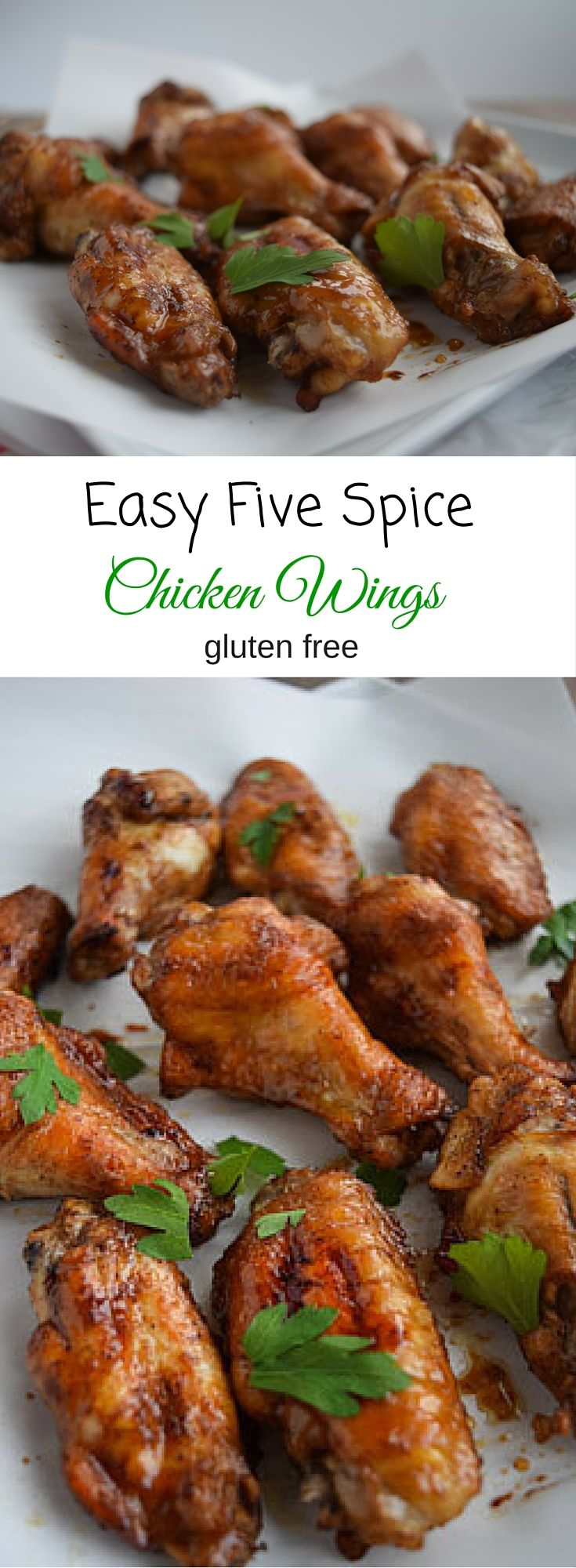 Easy Five Spice Chicken Wings are a great treat for the big game.  Gluten free and easy to prepare. www.seasonalcravings.com
