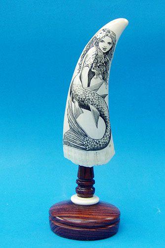 mermaid scrimshaw