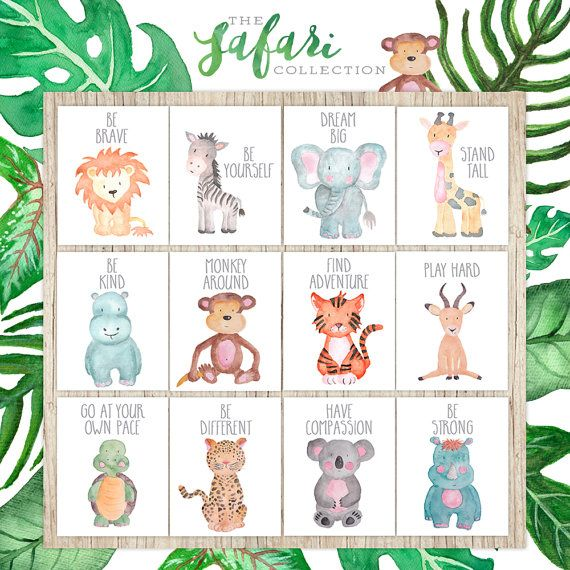 Safari Nursery Wall Art Animal Paintings Baby Animal Prints Animal Watercolor Kids Wall Art Decor Kids Room Elephant Giraffe Zebra Lion – Kinderzimmer