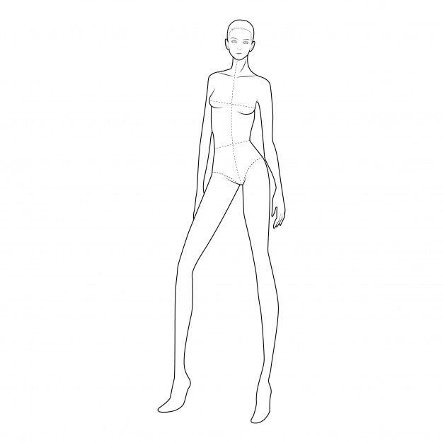 Mode Teenager Skizzierte Vorlage Figur Silhouette