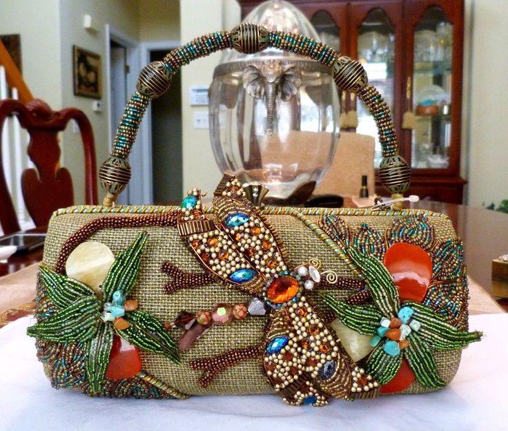 Mary Frances Retired Dragonfly Resort 2010 Glass Beads Rhinestone Handbag New Maryfrances Resortevening