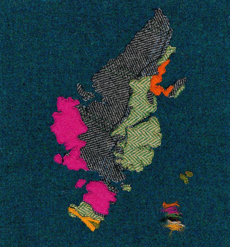 Bedrock Geology Lewis & Harris - Textile Mapwork by Jane Hunter  (Limited Edition Giclee Print) Original media: Harris Tweed & Free Motion Embroidery