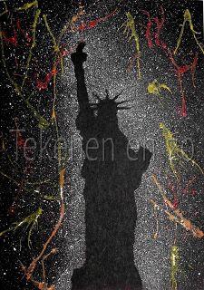 Benodigdheden:  zwart papier op A-4 formaat witte, rode, gele en oranje plakkaatverf oude tandenborstel theelepeltje schaar foto van skyline of bekend bouwwerk rietje gekleurd papier om werkstuk op te plakken