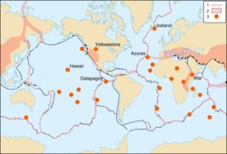 Kaart met platen en hotspots. De lijnen stellen de losse platen voor en de rode stippen zijn hotspots