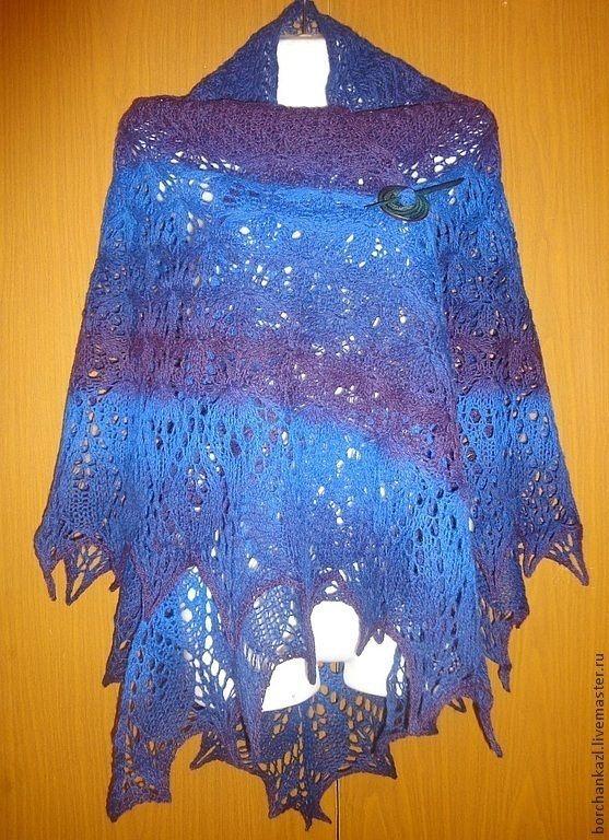 Купить Шаль Космос спицами шерстяная в интернет магазине на Ярмарке Мастеров