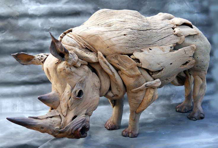 The Rhino is constantly on my commissions list, driftwood sculptures by Tony Fredriksson