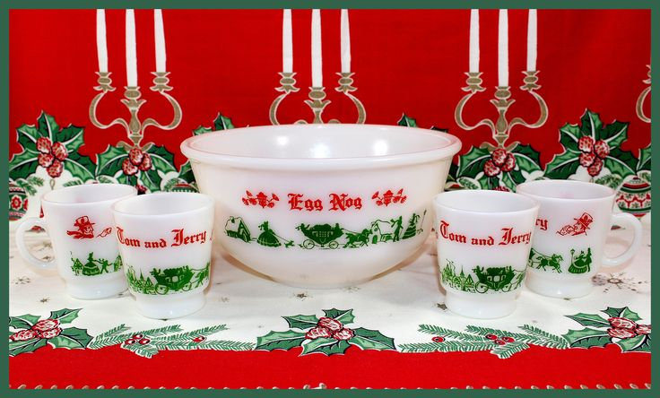 Hazel Atlas, Tom & Jerry, Eggnog Punch Bowl, 4 Matching Mugs, Christmas Dickens Village, White Milk Glass, 5 Piece Set, Vintage - 1950's by AjsVintageTreasures on Etsy