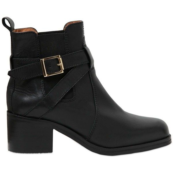 CARVELA KURT GEIGER 50mm Sadie Leather Ankle Boots - Black found on Polyvore