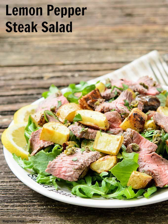 Lemon Pepper Steak Salad with roasted potatoes, capers, arugula, and ...