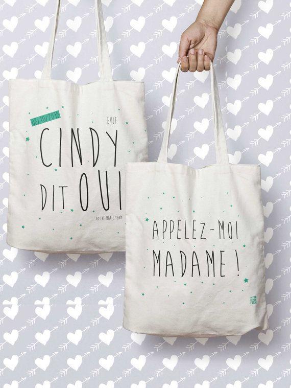 """Sac """"Cindy dit OUI, Appellez-moi madame"""", Recto Verso, tote bag personnalisé, sac cabas, cadeau demoiselle d'honneur, cadeau EVJF, mariage"""