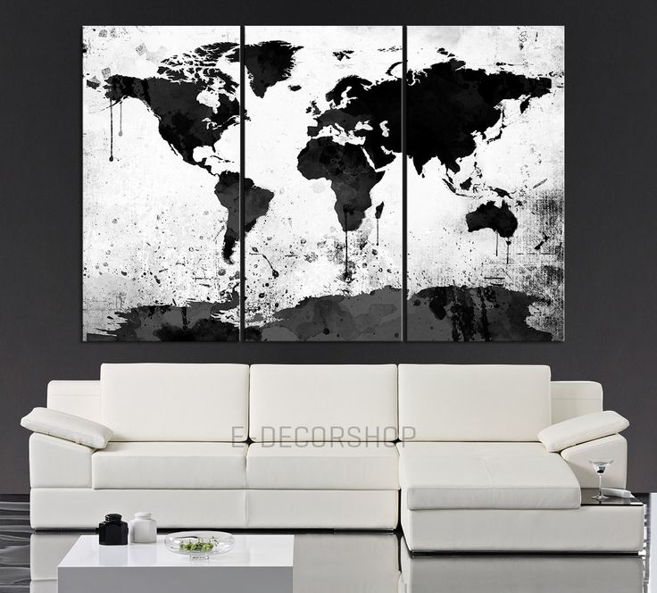 Exceptional Large Black White World Map Canvas Print   3 Piece Watercolor Splash Map  Large Canvas Wall