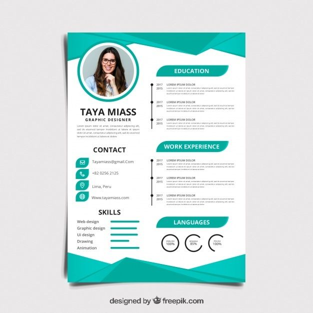 Flat Design Of A Dynamic Color Cv The Main Colors Are Gray And Blue With Accents In Red And Green It Has Sp Modern Resume Design Resume Design Resume Layout