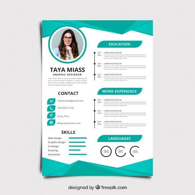 Curriculum Template With Flat Design Desain Resume Cv Kreatif Desain Cv