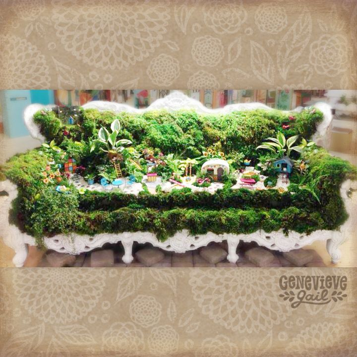 Mini Garden Moss Couch! U201cGypsy Gardenu201d Miniature Garden Accessories By  Genevieve Gail And