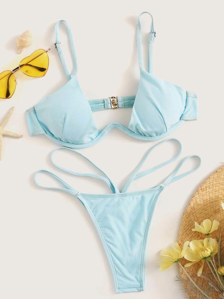 Bügeloberteil Mit String Bikini Set