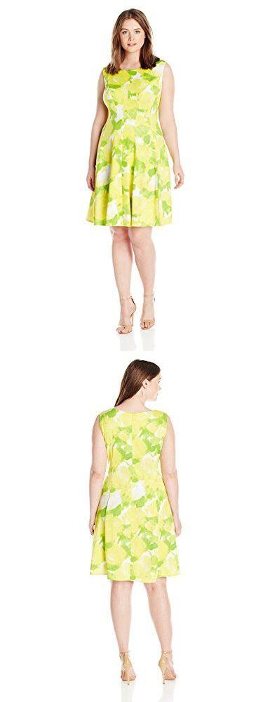 Sandra Darren Women's Plus Size Extended Shoulder Multi Colored Fit and Flare Scuba Dress, Lemon Lime, 22W