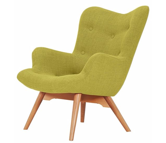 Hygena Angel Fabric Chair  Polyester upholstery. Wooden feet. Fixed cushion. Foam cushion filling. Size H88, W71, D85cm. Weight 12kg. Floor to seat height: 40cm. Depth of seat: