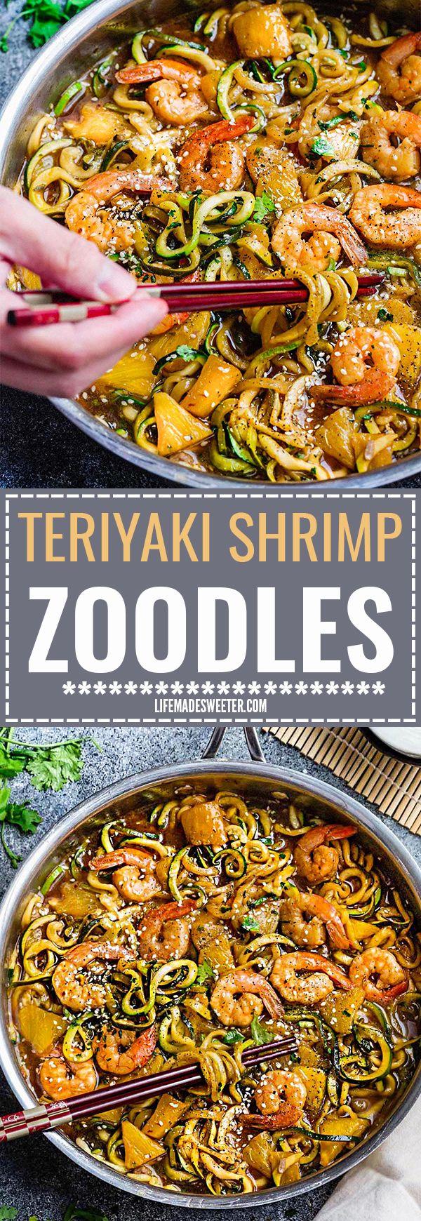 Een Pan Teriyaki Garnalen Zoodles {Zucchini Noodles} is de perfecte eenvoudig glutenvrij (of paleo) doordeweekse avond maaltijd!  Het beste van alles, het duurt slechts 30 minuten te maken in slechts een pot en is zo veel gezonder en beter dan afhalen!  Geweldig voor zondag maaltijd prep en restjes maken heerlijke lunch bowls voor werk of school lunchboxen!  Plus Video!