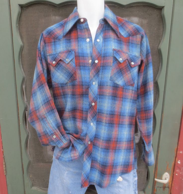 1970's Lee WeSteRn WeaR pLaiD MoD CoWboY CheCKeD CouNtrY WesTeRn SnaP buTToN DowN SqUaRe DaNcE RaNcH RoDeo ShiRt LexBoHzW