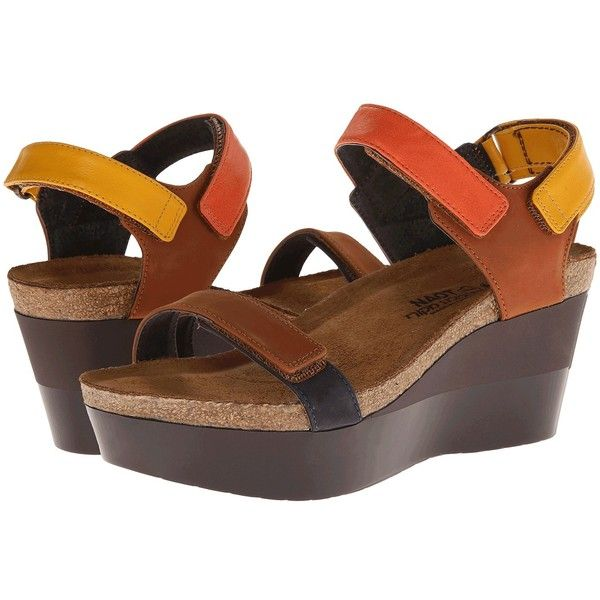 Naot Footwear Miracle (Hawaiian Brown Nubuck/Orange Leather/Hawaiian... (.  Brown Leather SandalsOrange LeatherLeather WedgesBlack ...