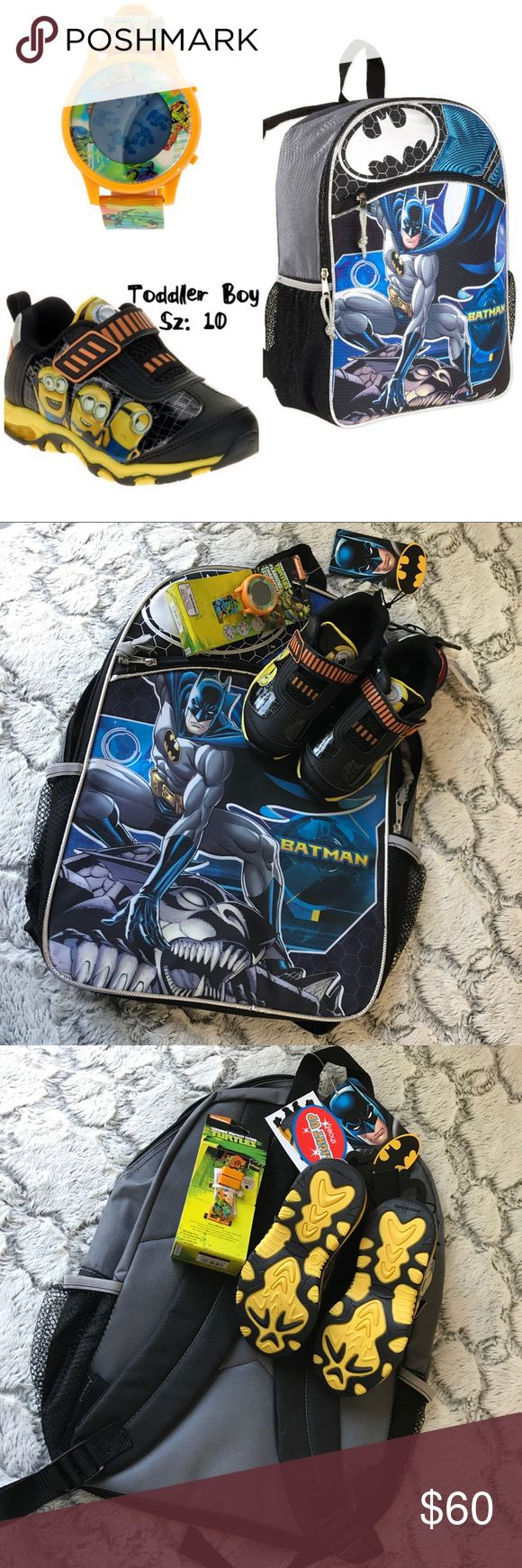💫NWT🌸SUMMER Boy Mix/Match 3Piece Set🤖 New Boy Mix And Match 3-Piece Set includes: 1 Boy Pair Minion Light Up Sneakers Sz: 10, 1 Boy Ninja Turtle Watch and 1 Boy Batman Backpack.  Brand New w Tags and in Box. Accessories