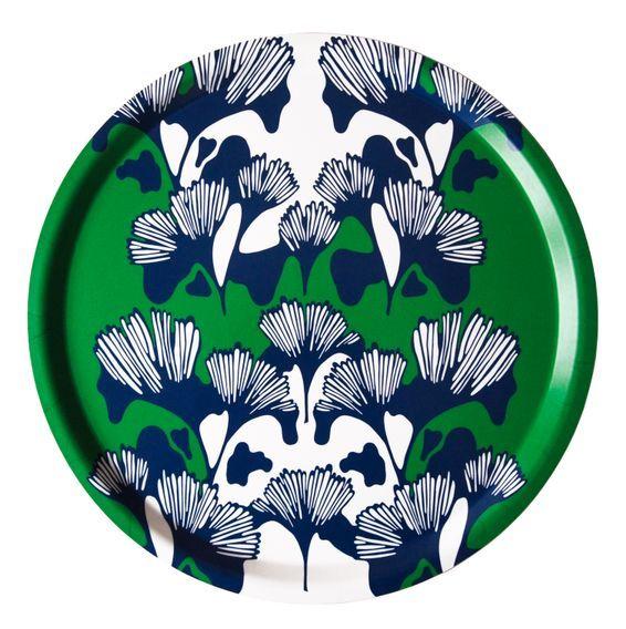 Bricka GINKO grön/blå/vit 38cm - Ulrika Lavér