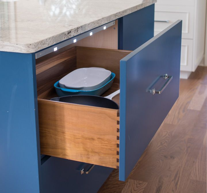 Integrated Cabinet Lighting Illuminates When You Open Doors Or Drawers In The Better Homes And Gardens Blue Kitchen