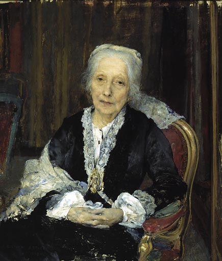 Jules Bastien-Lepage (1848 - 1884), was een Frans naturalistisch kunstschilder. Portret van Juliette Drouet   (1806 - 1883), een Franse actrice,  maîtresse van Victor Hugo, zij vergezelde Hugo in zijn verbanning naar de Kanaal eilanden.
