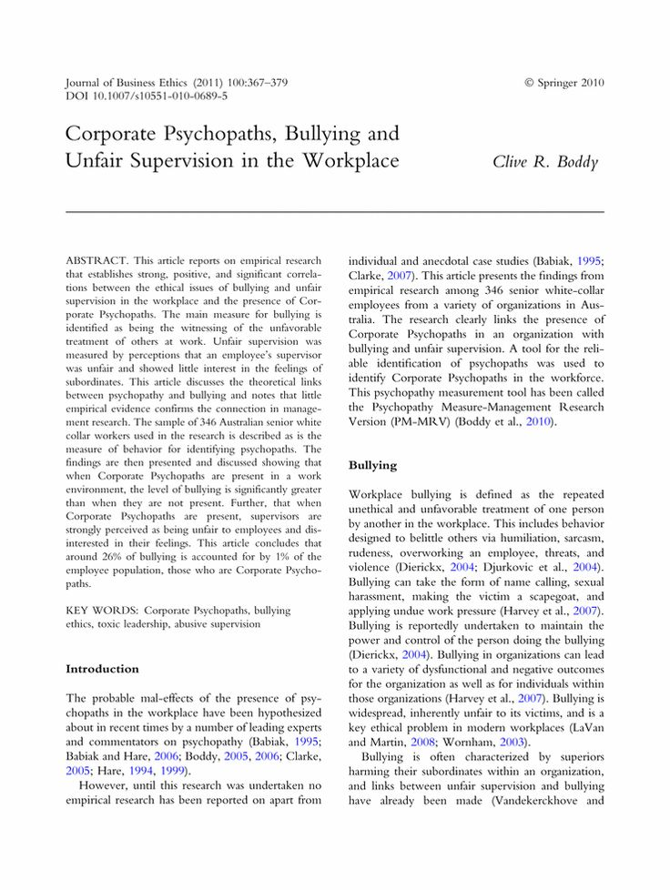 Corporate Psychopaths, Bullying and Unfair Supervision in the Workplace - Springer