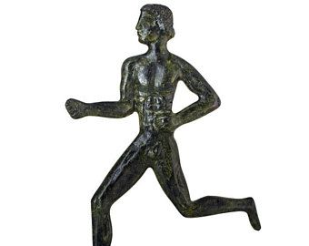 Ancient Olympic Games Thin Runner Statue Historic Hand-Made Bronze Sculpture artwork Bronze Statue Figurine Olympic Athlete Collectible Art