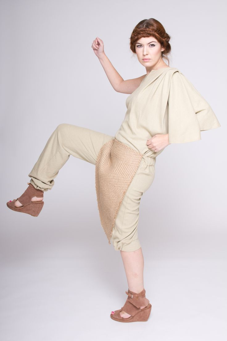 Asymmetrical Jumpsuit made of rustic jute and 100% organic cotton