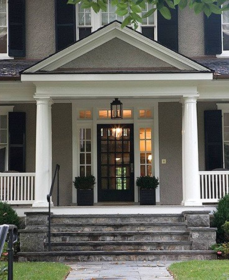 gray house white trim black door shutters love the exterior colors and the front door