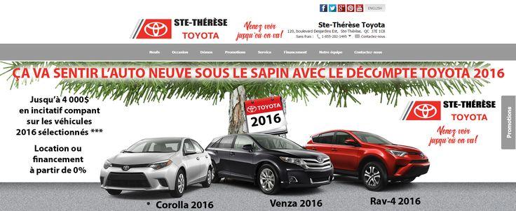 Ste-Thérèse Toyota et Ca va sentir l'auto neuve sous le sapin avec le decompte 2016