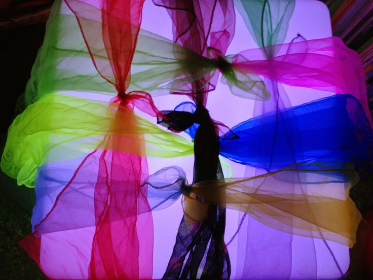 weaving with play silks on the light cube